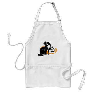Beautiful girl, big black cat Panther illustration Standard Apron
