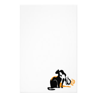 Beautiful girl, big black cat Panther illustration Stationery