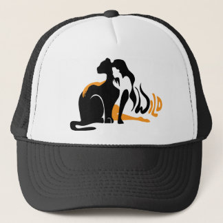 Beautiful girl, big black cat Panther illustration Trucker Hat