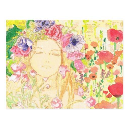 beautiful girl in the flower postcard