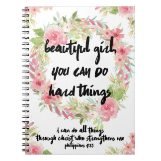 Beautiful Girl Philippians 4:13 Pink Rose Notebook