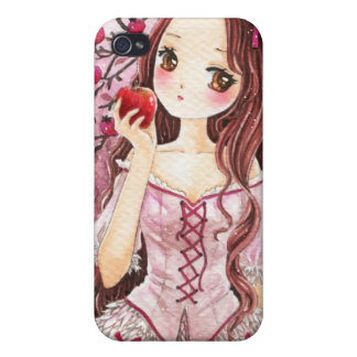 Beautiful girl with apple cover for iPhone 4