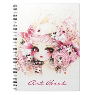 Beautiful girl with cute bunnies notebook