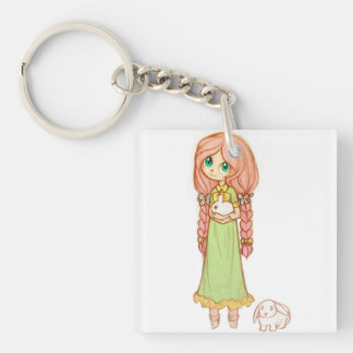 Beautiful Girl with her Pet Rabbits Hand Sketch Keychains
