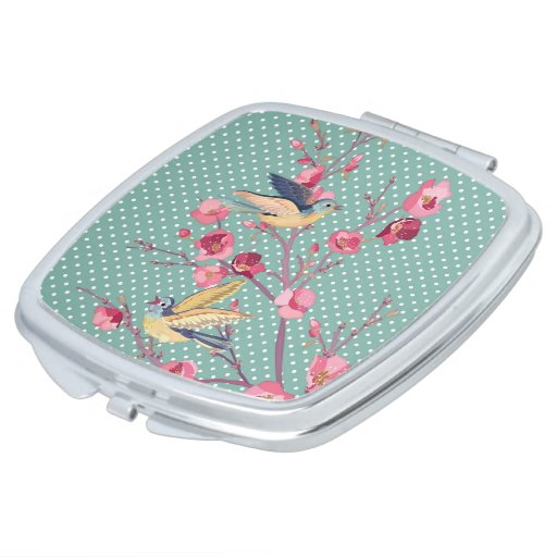 Beautiful girly chic vintage spring tree blossom mirror for makeup