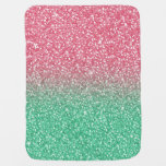 Beautiful girly pink green faux glitter effects receiving blanket