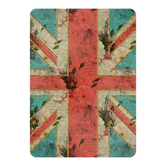 Beautiful girly trendy vintage floral U.K. Flag Card