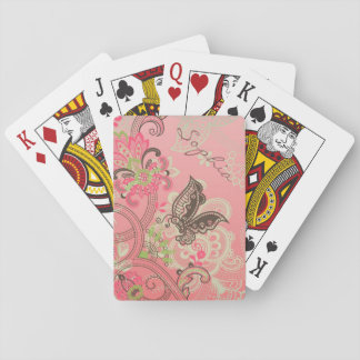 Beautiful girly trendy vintage lace floral playing cards