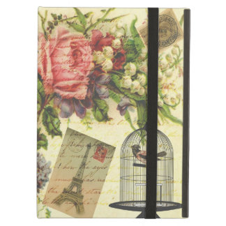 Beautiful girly vintage roses flowers Eiffel Tower Case For iPad Air