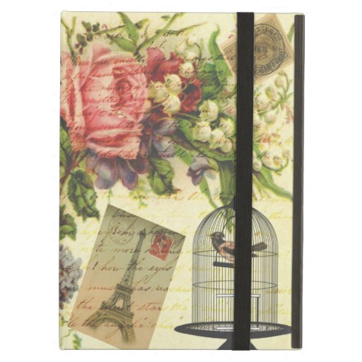 Beautiful girly vintage roses flowers Eiffel Tower iPad Cover