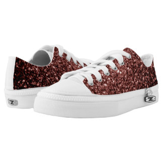 Beautiful Glam Brown Red Glitter sparkles Low Tops