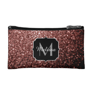 Beautiful Glam Brown Red Glitter sparkles Monogram Cosmetic Bag