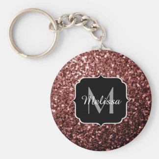 Beautiful Glam Brown Red Glitter sparkles Monogram Basic Round Button Key Ring