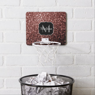 Beautiful Glam Brown Red Glitter sparkles Monogram Mini Basketball Hoop