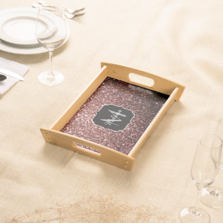 Beautiful Glam Brown Red Glitter sparkles Monogram Serving Tray