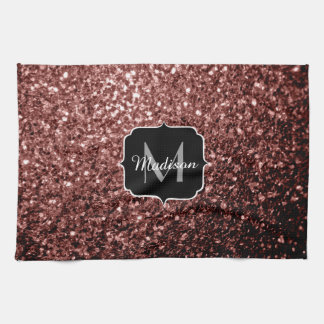 Beautiful Glam Brown Red Glitter sparkles Monogram Tea Towel