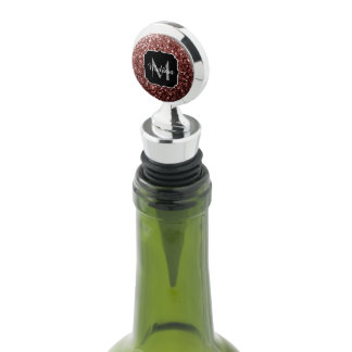Beautiful Glam Brown Red Glitter sparkles Monogram Wine Stopper