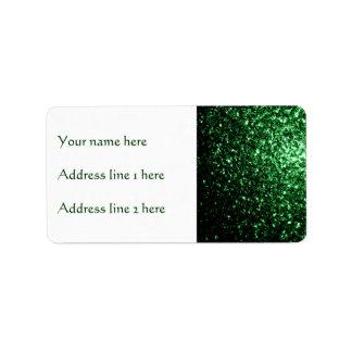 Beautiful Glamour Green glitter sparkles Address Label