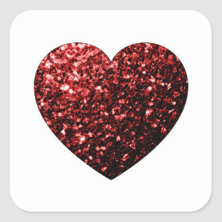 Beautiful Glamour Red Glitter sparkles Heart Square Sticker
