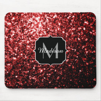 Beautiful Glamour Red Glitter sparkles Monogram Mouse Pad