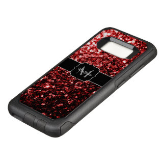 Beautiful Glamour Red Glitter sparkles Monogram OtterBox Commuter Samsung Galaxy S8 Case