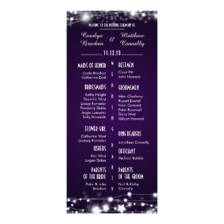 Beautiful Glowing Stars Purple Wedding Program Customised Rack Card