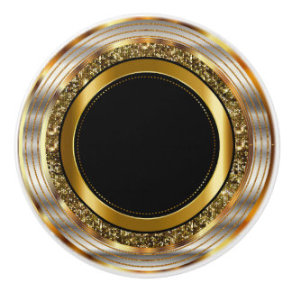 Beautiful Gold and Black Ceramic Knob