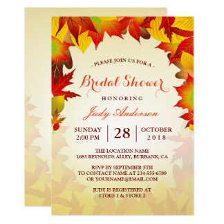 Beautiful Gold Autumn Fall Leaves | Bridal Shower 13 Cm X 18 Cm Invitation Card