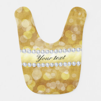 Beautiful Gold Bokeh Foil and Diamonds Bib