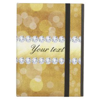 Beautiful Gold Bokeh Foil and Diamonds iPad Air Cover