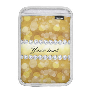 Beautiful Gold Bokeh Foil and Diamonds iPad Mini Sleeves
