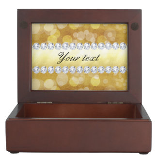 Beautiful Gold Bokeh Foil and Diamonds Keepsake Box