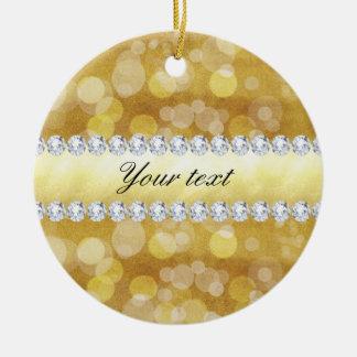 Beautiful Gold Bokeh Foil and Diamonds Round Ceramic Decoration