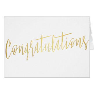 "Beautiful gold calligraphy ""Congratulations"" Card"