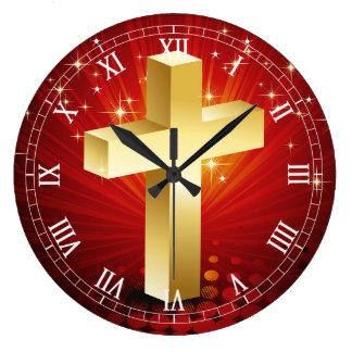 Beautiful Gold Cross Christmas Clock