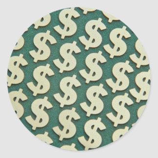Beautiful Gold dollar signs Classic Round Sticker