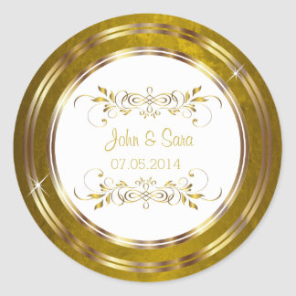 Beautiful Gold Foil Outline Wedding Round Sticker