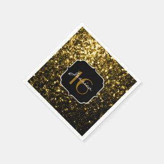 Beautiful Gold glitter sparkles Sweet 16 napkin Paper Napkin