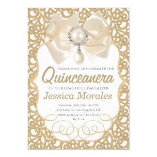 Beautiful Gold Quinceanera Celebration Invitation