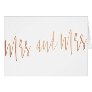 """Beautiful gold rose """"Mrs. and Mrs."""" Greeting Card"""