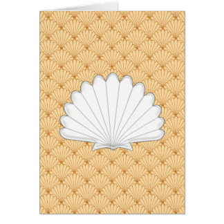 Beautiful Gold Scallop Shell Repeating Pattern Greeting Cards