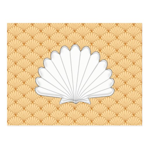 Beautiful Gold Scallop Shell Repeating Pattern Post Cards