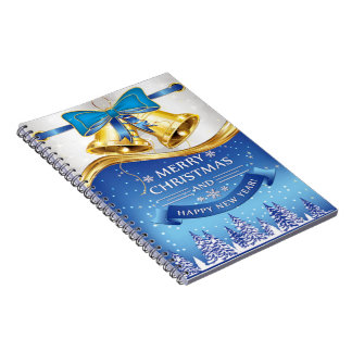 Beautiful Golden Christmas Bells with Blue Bow Notebooks