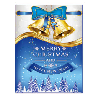 Beautiful Golden Christmas Bells with Blue Bow Postcard