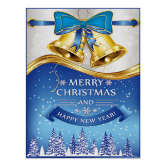 Beautiful Golden Christmas Bells with Blue Bow Poster