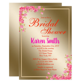 Beautiful Golden Flowery Bridal Shower Invite