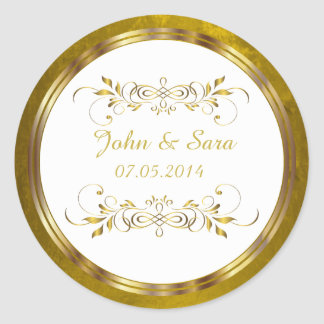 Beautiful Golden Foil Outline Round Sticker