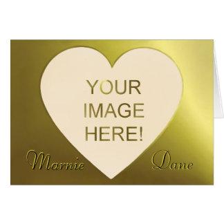 Beautiful Golden Peach Heart Wedding Invitation Greeting Card