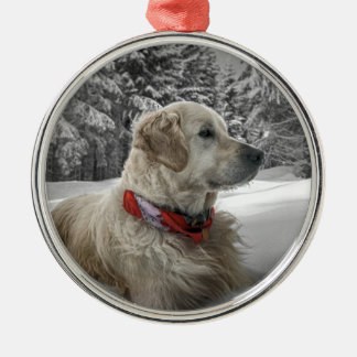 Beautiful Golden Retriever in snow Metal Ornament