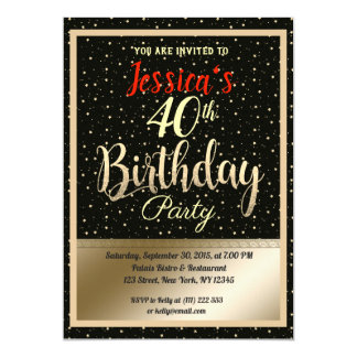 Beautiful Golden Stars Birthday party Invite